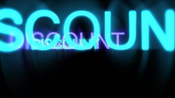 movimento de desconto de texto em néon em fundo escuro
