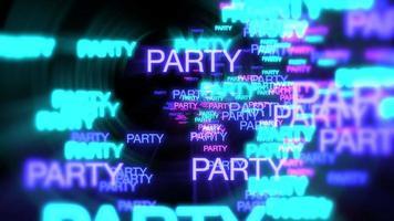 movimento da festa de texto em néon em fundo escuro