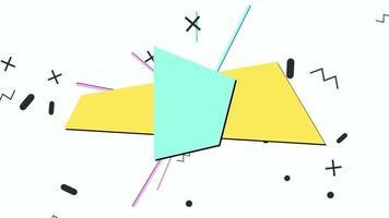 movimento formas geométricas abstratas em ziguezague e linhas, fundo branco de memphis