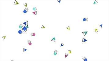 movimento formas geométricas abstratas pontos e quadrados, fundo branco de memphis