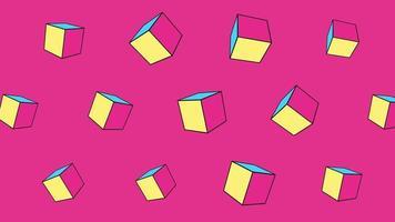 cubos geométricos abstratos em movimento, fundo rosa de memphis video