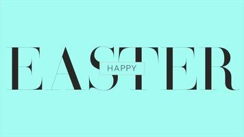 texto de animação feliz páscoa em fundo azul de moda e minimalismo video