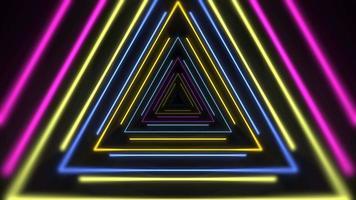movimento triângulos de néon laser coloridos, fundo abstrato