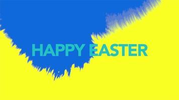 texto de animação feliz páscoa em fundo hipster e grunge com pincel azul e amarelo