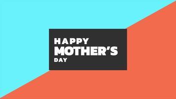 animação texto dia das mães sobre fundo de moda e minimalismo azul e laranja com quadrado geométrico