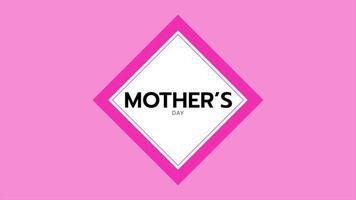 animação texto dia das mães sobre fundo rosa moda e minimalismo com quadrado branco video