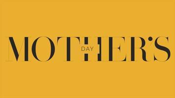 animação texto dia das mães sobre fundo amarelo de moda e minimalismo