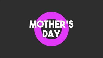 animação texto dia das mães sobre fundo de moda e minimalismo preto com círculo roxo video