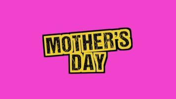 animação texto dia das mães hipster rosa e fundo grunge com ruído
