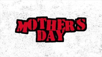 animação texto dia das mães em hipster branco e fundo grunge com ruído