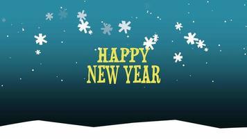 animierte Nahaufnahme Frohes Neues Jahr Text auf Schnee Hintergrund video