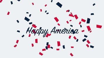 closeup animado texto américa feliz em fundo de feriado, dia da nação dos eua