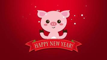 closeup animado texto de feliz ano novo e porco engraçado