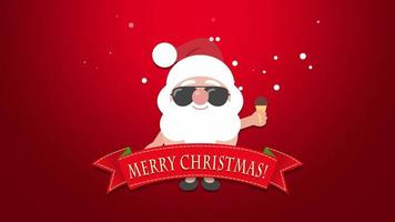 Animated closeup Merry Christmas text, Santa Claus with ice cream video