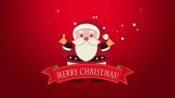 closeup animado texto de feliz natal, papai noel com sinos