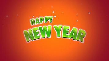 closeup animado texto de feliz ano novo em fundo laranja