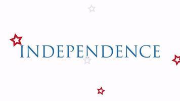 closeup animado texto dia da independência dos EUA em plano de fundo do feriado