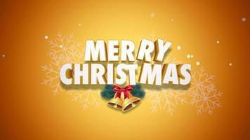 closeup animado com texto de feliz natal e sinos em fundo amarelo