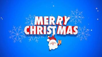 Animated close up Merry Christmas text and Santa Claus with gift boxes on blue background video