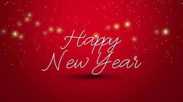 animierte Nahaufnahme Frohes Neues Jahr Text auf rotem Hintergrund video