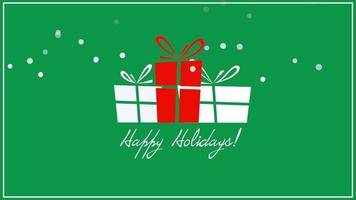 Animated closeup Happy Holidays text, three gift boxes on green background video