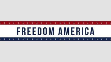 closeup animado texto liberdade américa em fundo de férias, dia da independência dos EUA