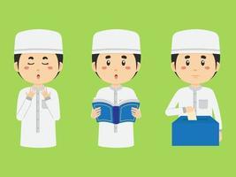 Stock Vector Muslim Kids Cartoon Set