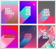 Cool phrase card poster set vector