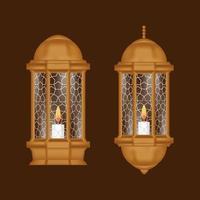 Conjunto de lámpara de fondo de Ramadán Kareem vector