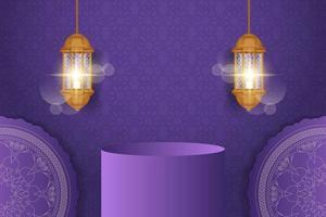 banner de venta de ramadan kareem realista con podio 3d. vector