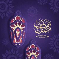 Ramadan Kareem greeting card decorated with arabic lanterns vector
