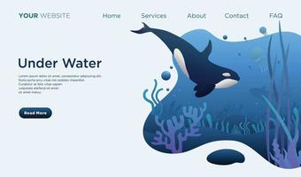 under water world landing page vector