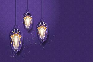 tarjeta de felicitación de ramadan kareem decorada con linternas árabes vector