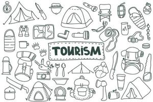 Doodle style tourism set. Hand drawn vector camping clip art set. Isolated on white background drawing for prints, poster, cute stationery, travel design. Nature, forest recreation, sport.