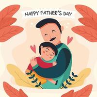 Father Hugs His Children in Father's Day Moments vector