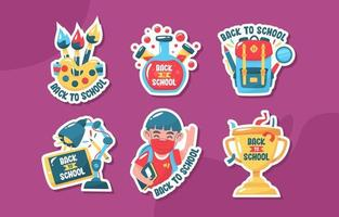Flat Back to School Sticker Set vector