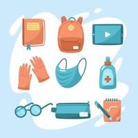 School Equipment in the New Normal Icon Set vector