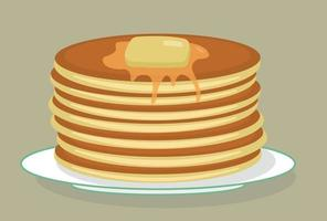 Stack of tasty american pancakes on a plate with butter and honey, syrup. Shrovetide. Maslenitsa. Flat vector illustration