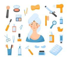 Vector Set With Girl and Bathroom Items.