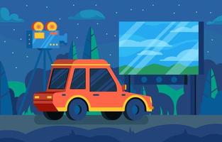 Flat Design Drive-in Movie Theater Concept vector