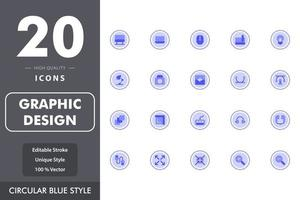 Graphic design icon pack vector