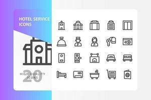 paquete de iconos de servicio de hotel aislado sobre fondo blanco. para el diseño de su sitio web, logotipo, aplicación, interfaz de usuario. Ilustración de gráficos vectoriales y trazo editable. eps 10. vector