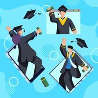 Graduation Ceremony on Online Concept vector