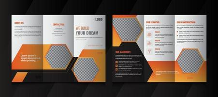 Creative Construction Business Tri Fold brochure design. Construction, Real Estate, Builders Company Tri Fold Brochure, Leaflet, Poster. vector