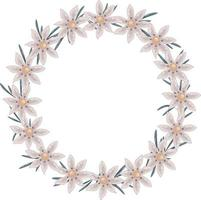 Vector beige wreath of wild daisies and green long leaves. Isolated frame has a place for text