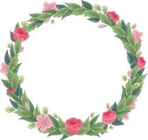 Vector floral wreath. Ornate leaf frame with roses and pink flowers.
