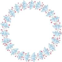 Vector wreath of blue flowers and red berries. The frame has a place for the text