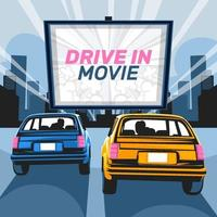 Drive-in Movie Concept vector
