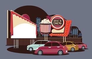 Drive-in Movie Theater in Flat Retro Style vector