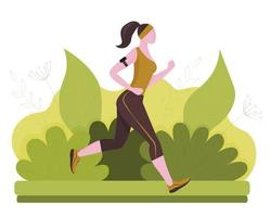 A running woman in the park. Healthy lifestyle. Colorful background. Vector illustration in flat style